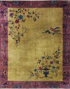 Antique Art Deco Chinese Four Dragon Carpet