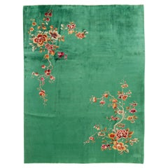 Antique Art Deco Chinese Green Wool Rug
