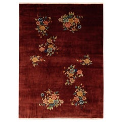 Antique Art Deco Chinese Handmade Red Wool Rug