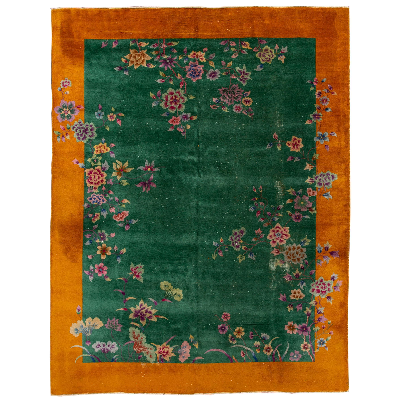 Antique Art Deco Chinese Handmade Wool Rug