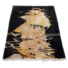 Antique Art Deco Chinese Nichols Pictorial Oriental Tall Ship Wool Rug, c1930