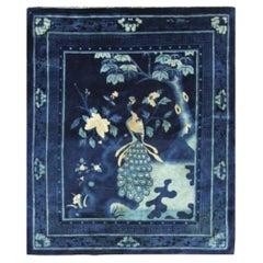Antique Art Deco Chinese Peking Rug, Bird of Happiness