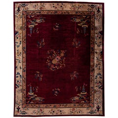 Antique Art Deco Chinese Red Wool Rug