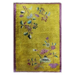 Antique Art Deco Chinese Rug Gold