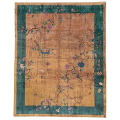 Antique Art Deco Chinese Rug, Gold Field, Dark Green Borders