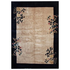 Antique Rug Art Deco Chinese Rugs, Beige Floral Handmade Carpet Oriental Rugs