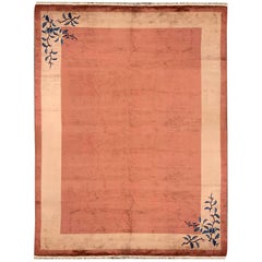 Antique Art Deco Chinese Rugs, Red Floral Carpet Rugs