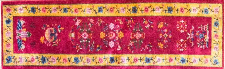 This wonderful Art Deco carpet was made in China, circa 1910s or 1920s, measures: 2'5