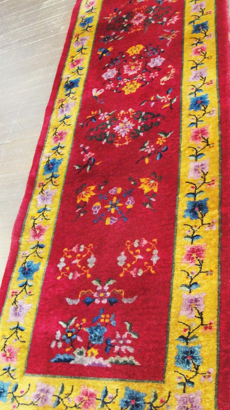 Wool Antique Art Deco Chinese Runner For Sale
