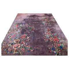 Antique Art Deco Chinese Wool & Silk Tientsin Aubergine Purple Floral Rug Signed