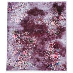 Antique Art Deco Chinese Wool & Silk Purple Floral Rug Signed, Nichols Aubergine