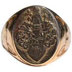 Antique Art Deco, circa 1934 10 Karat Gold Fox and Goddess Signet Ring