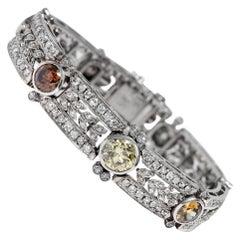 Antique Art Deco circa 1935, Certified 15.9 Carat Fancy Color Diamond Bracelet