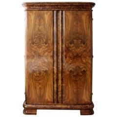 Antique Art Deco Curved Burl Wood Armoire Dresser w Drawer & 4 Shelves
