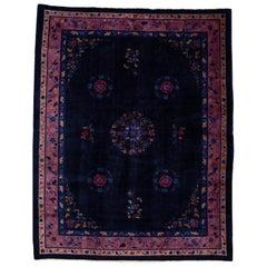 Antique Art Deco Dark Indigo Chinese Wool Rug