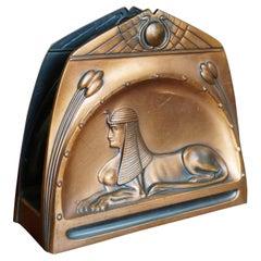 Antique Art Deco Design, Egyptian Revival Embossed Sphinx Letter Rack by WMF