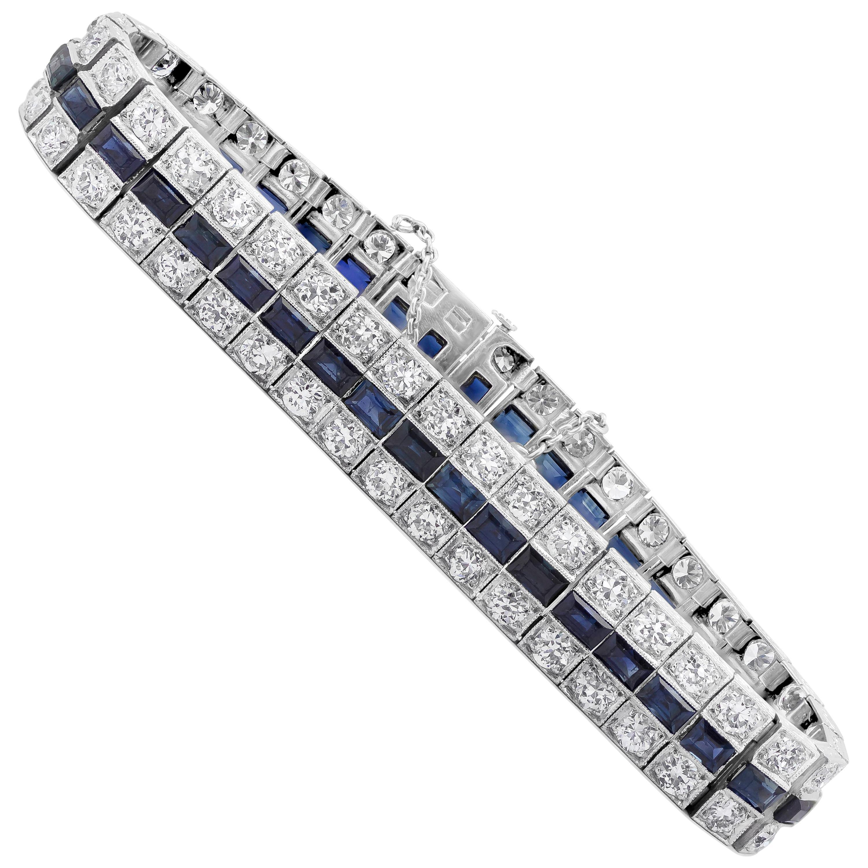 Antique Art Deco Diamond and Blue Sapphire Bracelet