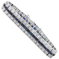 Antique Art Deco Diamond and Blue Sapphire Bracelet