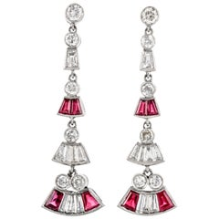 Antique Art Deco Diamond and Ruby Platinum Fan Dangling Earrings
