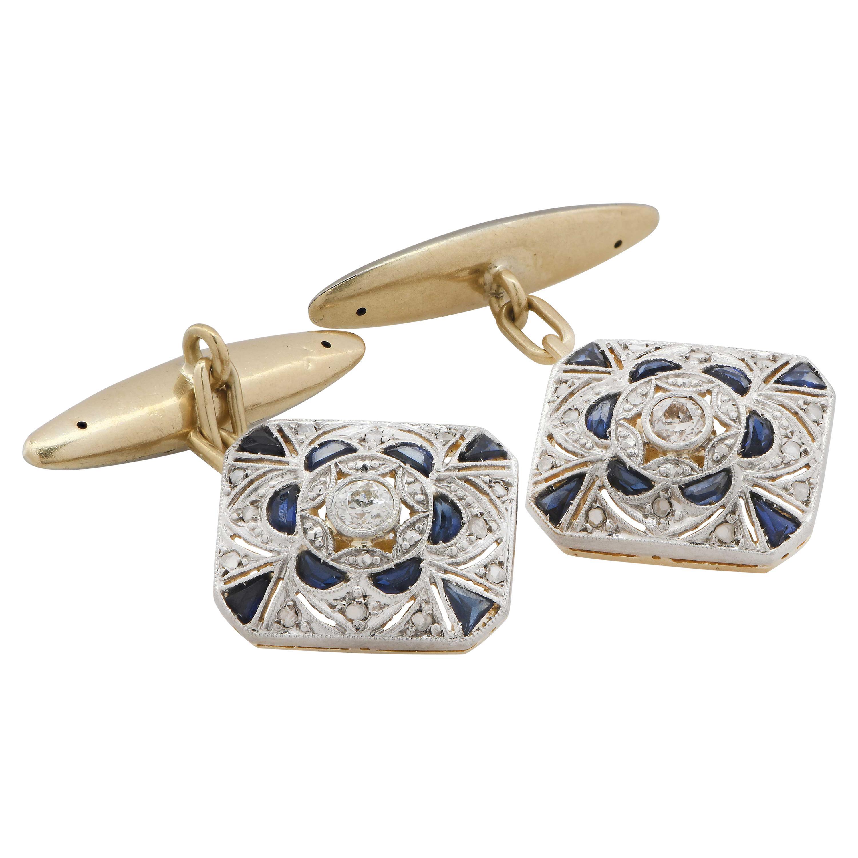 Antique Art Deco Diamond and Sapphire Cuff Links