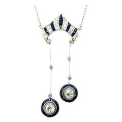 Antique Art Deco Diamond and Sapphire Platinum Necklace
