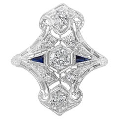 Antique Art Deco Diamond and Sapphire Ring