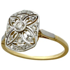 Antique Art Deco Diamond and Yellow Gold Cocktail Ring
