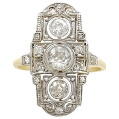 Antique Art Deco Diamond and Yellow Gold Dress Ring