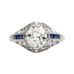 Antique Art Deco Diamond Blue Sapphire Filigree Engagement Ring