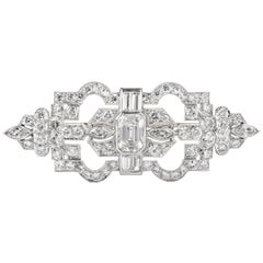 Antique Art Deco Diamond Crown Platinum Brooch
