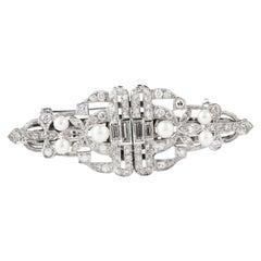 Antique Art Deco Diamond Crown Platinum Brooch