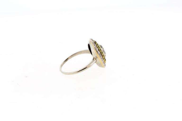 Antique Art Deco Diamond Demantoid Garnet Navette Platinum Ring In Good Condition For Sale In New York, NY
