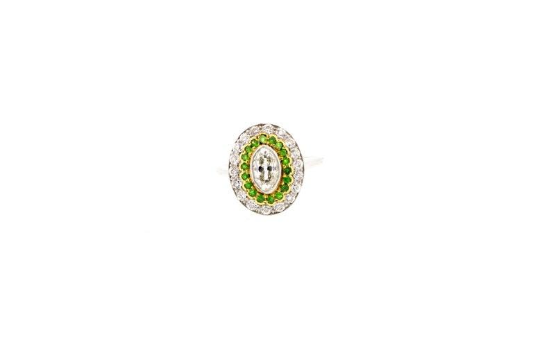 Women's or Men's Antique Art Deco Diamond Demantoid Garnet Navette Platinum Ring For Sale