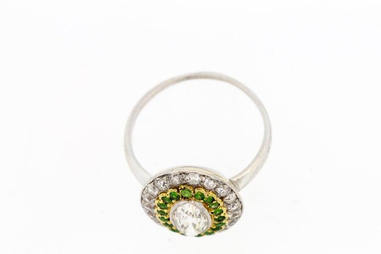 Antique Art Deco Diamond Demantoid Garnet Navette Platinum Ring For Sale 1