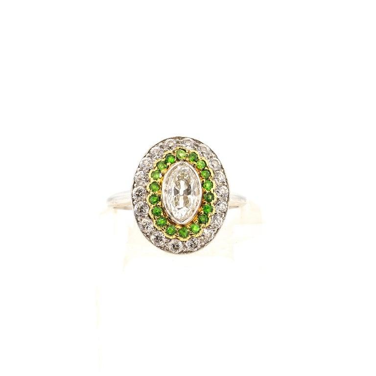 Antique Art Deco Diamond Demantoid Garnet Navette Platinum Ring For Sale 2