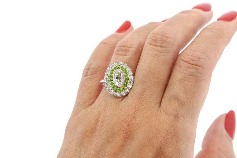 Antique Art Deco Diamond Demantoid Garnet Navette Platinum Ring For Sale 3