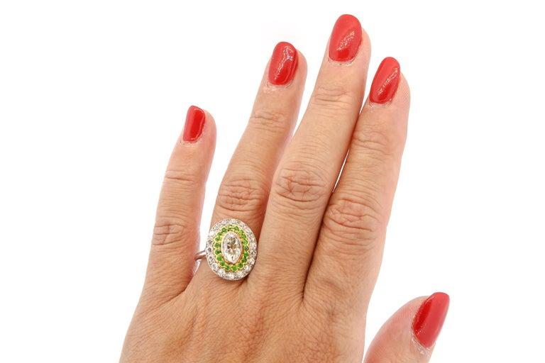 Antique Art Deco Diamond Demantoid Garnet Navette Platinum Ring For Sale 4
