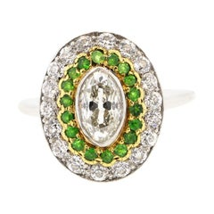 Antique Art Deco Diamond Demantoid Garnet Navette Platinum Ring