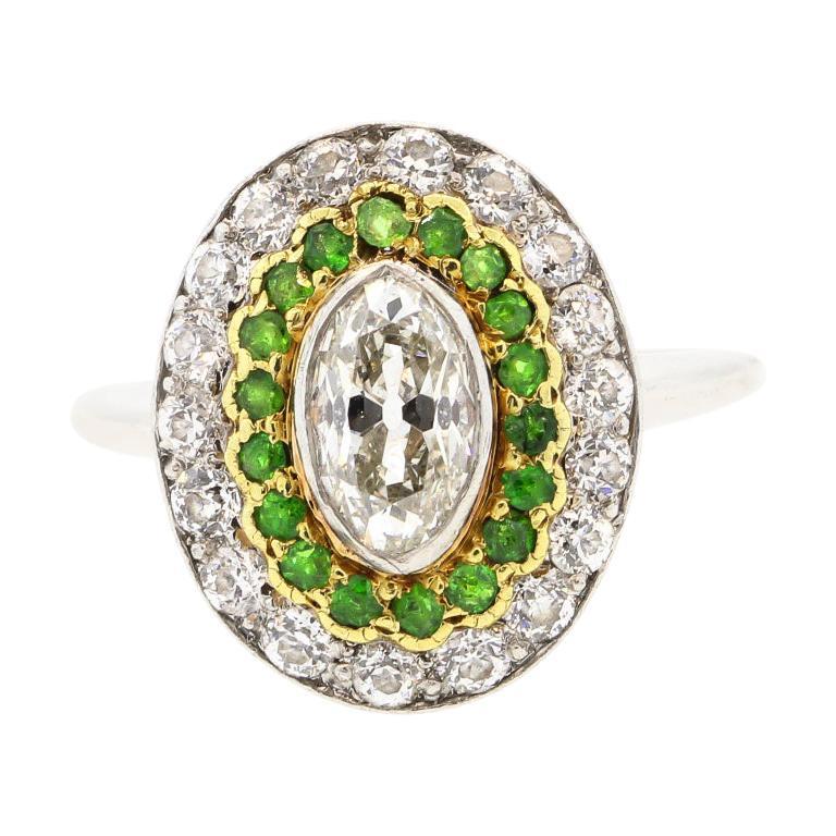 Antique Art Deco Diamond Demantoid Garnet Navette Platinum Ring For Sale