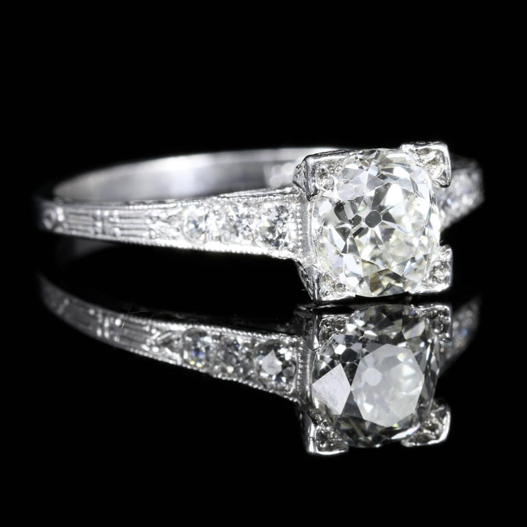 Antique Engagement Rings For Sale: Antique Art Deco Diamond Engagement Ring Solitaire, Circa