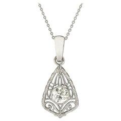 Antique Art Deco Diamond Filigree Pendant Necklace Old European Cut 3/4 Carat