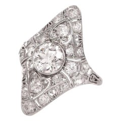 Antique Art Deco Diamond Filigree Platinum Ring