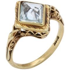 Antique Art Deco Diamond Form Aquamarine Ring