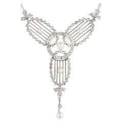 Antique Art Deco Diamond, Pearl and Platinum Necklace