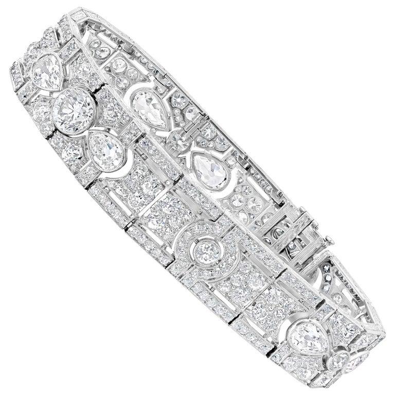 Antique Art Deco Diamond Platinum Bracelet For Sale