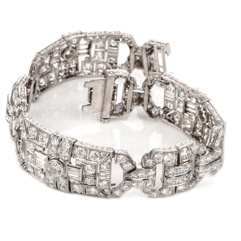Round Cut Antique Art Deco Diamond Platinum Filigree Bracelet For Sale