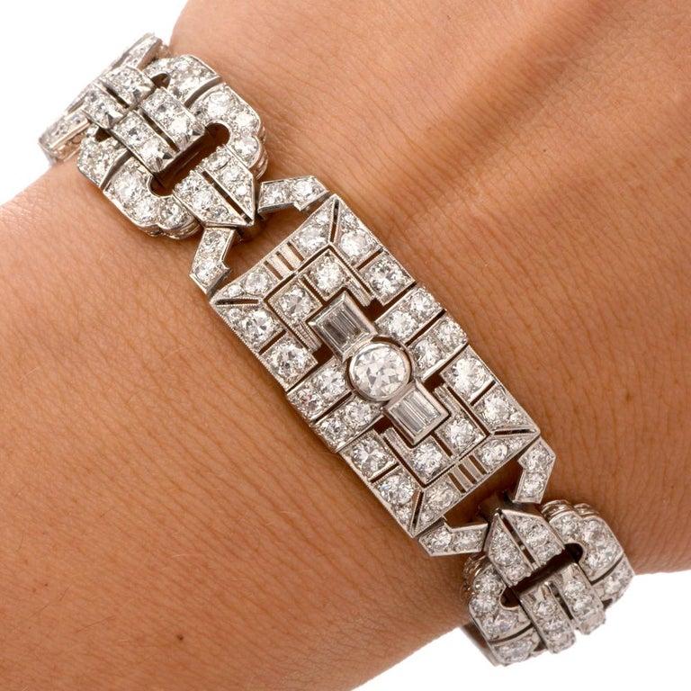 Antique Art Deco Diamond Platinum Filigree Bracelet In Excellent Condition For Sale In Miami, FL