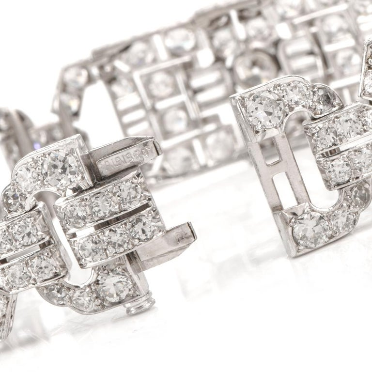 Women's or Men's Antique Art Deco Diamond Platinum Filigree Bracelet For Sale