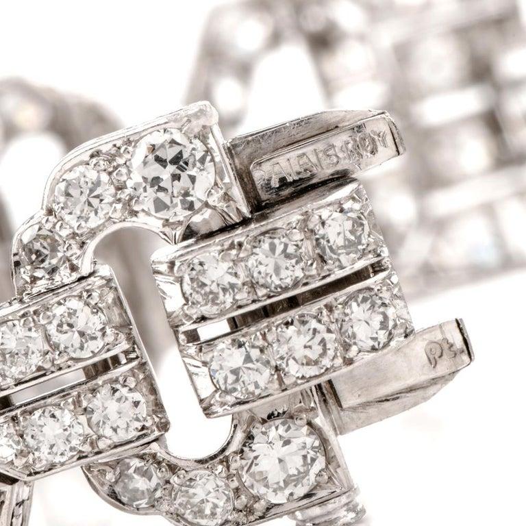 Antique Art Deco Diamond Platinum Filigree Bracelet For Sale 1