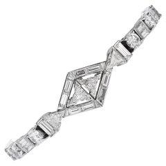 Antique Art Deco Style Diamond Platinum Geometric Line Link Bracelet
